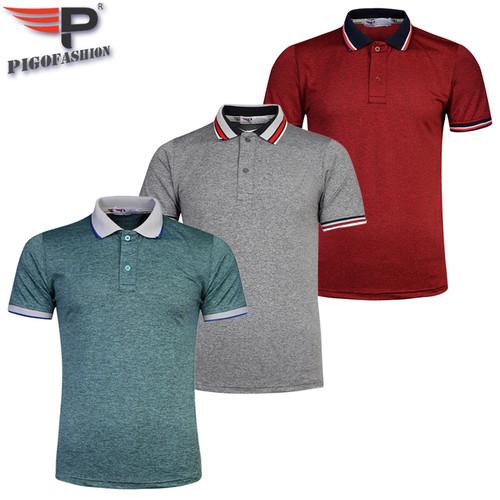 Bộ 3 áo thun nam cổ bẻ phối bo cao cấp chuẩn phong độ pigofashion aht23 - rêu, xám đậm, đỏ đô