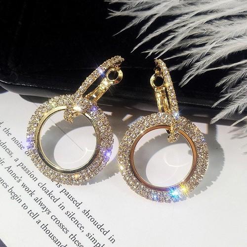 Hoa tai dạng vòng đính hạt thời trang dành cho nữ khuyên tai dạng vòng bông tai khuyên tai thời trang hàn quốc h2vrg001