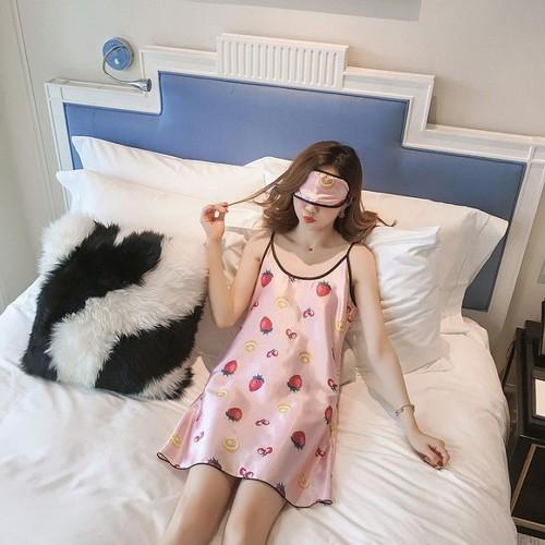 Váy ngủ lụa kèm bịt mắt hàng quảng châu siêu xinh