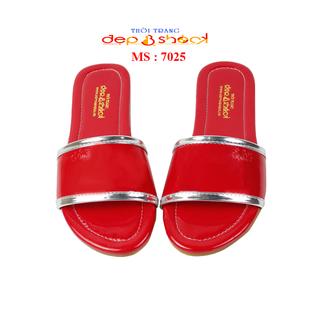 Dép nữ quai ngang big size màu đỏ viền bạc ĐẸPVASHOCK - 7025 - ĐỎ thumbnail