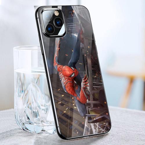 Ốp điện thoại kính cường lực cho máy iphone 11 pro max - spider man người nhện ms spdmnn010