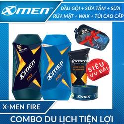 [Tặng túi cao cấp] Dầu gội X-Men Fire 180g + Sữa tắm X-Men Fire 180g + Sữa rửa mặt X-Men ngừa mụn 50g + Wax X-Men Spiky 22g tặng Túi du lịch X-Men cao cấp