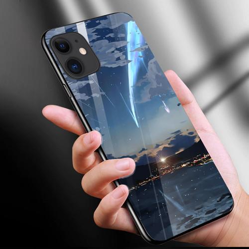 Ốp điện thoại kính cường lực cho máy iphone 11 - anime love nơi ta chờ nhau ms ntcn005