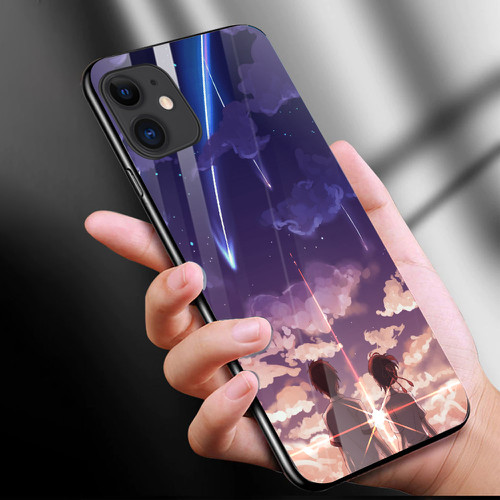 Ốp điện thoại kính cường lực cho máy iphone 11 - anime love nơi ta chờ nhau ms ntcn004