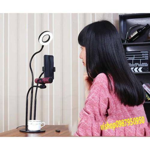 Bộ giá đỡ 3 in 1 livestream đèn led giá đỡ míc giá đỡ điện thoại ben