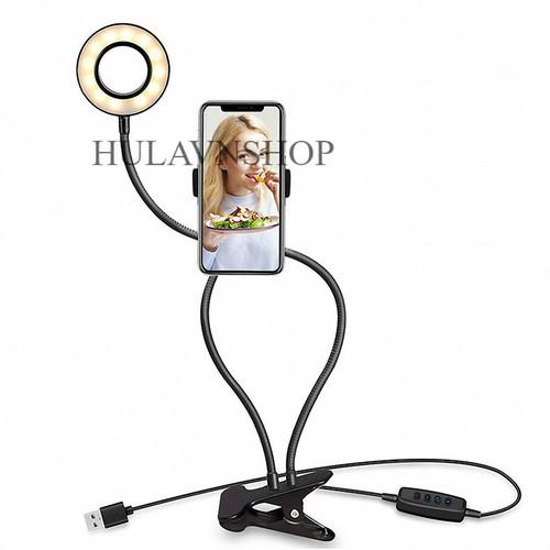 Bộ gậy livestream 2 in 1 3 chế độ đèn gồm đèn và kẹp giảm nhẹ