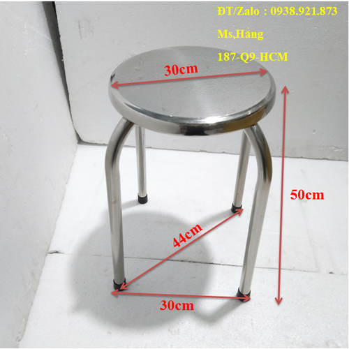 Ghế inox mặt trơn cao 50cm - gđ37-pmt