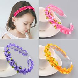 Cài tóc phối hoa lụa nhiều màu dễ thương dành cho bé gái
