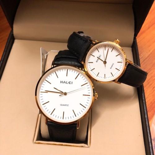 Đồng hồ nam, nữ dây da halei  platium thời thượng phong cách sang trọng