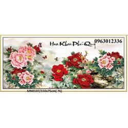 tranh thêu chữ thập hoa mẫu đơn tuyệt đẹp mn0107 kt 150x75cm