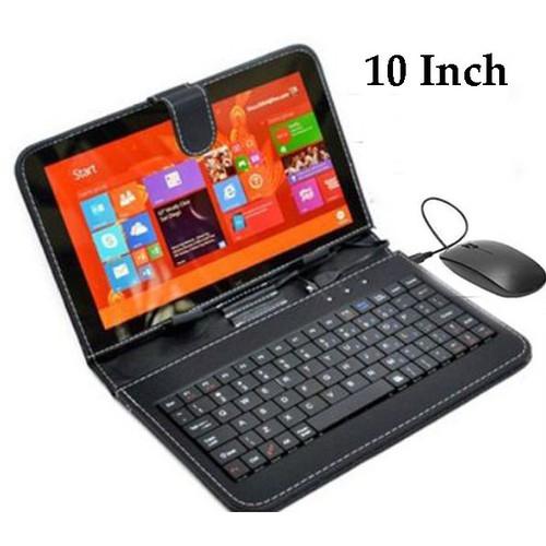 Bao da bàn phím có chuột lót chuột cho điện thoại máy tính bảng 10 inch đen uhàng nhiều l