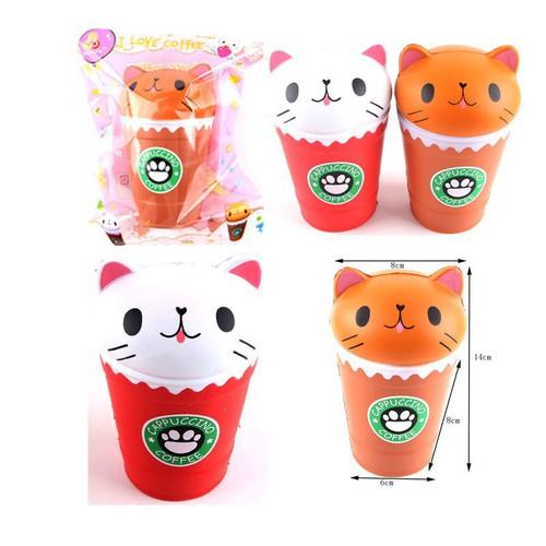 14cm jumbo squishy kawaii cat kitty coffee cup squeeze animal slow rising hàng oki