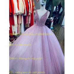 áo cưới hồng ruốt kim tuyến phale