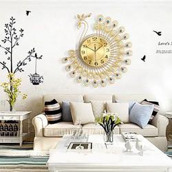 đồng hồ treo tường CON công phong cách nội thất châu âu - CON công xanh