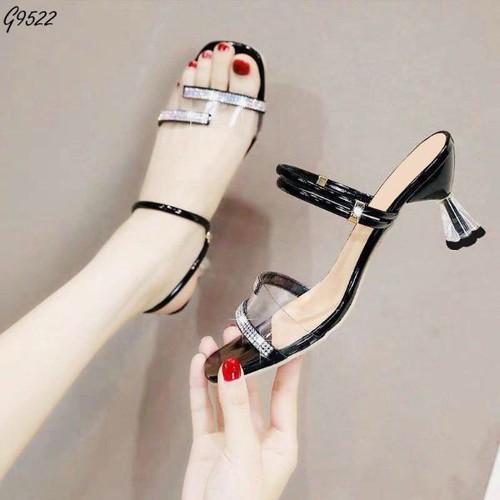 Sandal cao gót 6 phân gót trong