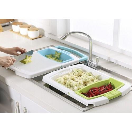 Bộ thớt rỗ đa năng gấp gọn thông minh thiết kế đa năng 3 trong 1, vừa là rổ rửa rau vừa có thể làm châu, và thớt thái thực phẩm