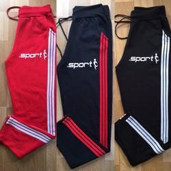 [HÌNH THẬT SP] Quần thể thao, tập gym 3 sọc in logo mẫu mới có size cho người mập phù hợp cả nam và nữ