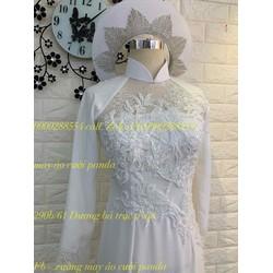 áo dài cưới chim hạc trắng co sãn cao cấp