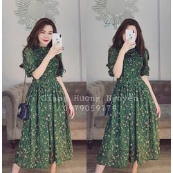 [SIÊU SALE] Đầm xòe vải lụa hoa xanh rêu M, L, XL, 2XL 40-74kg thiết kế cao cấp