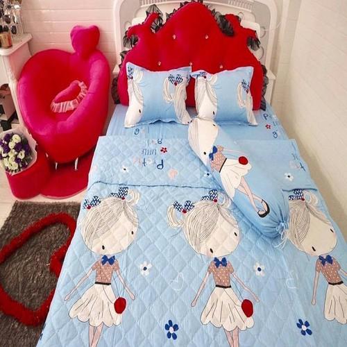 Ga giường cotton pha cô gái 1 ga + 2 vỏ gối nằm + 1 áo ôm