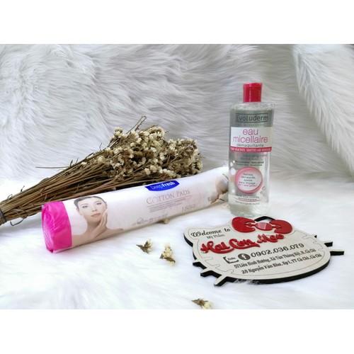 Combo bông tẩy trang và nước tẩy trang dành cho da nhạy cảm evoluderm 500ml