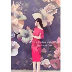 [SIÊU SALE] Đầm ômlệch vai lụa nhung cực xinh 40-55kg thiết kế cao cấp eo xếp bèo