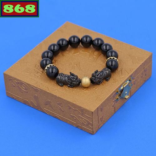 Vòng tay thạch anh đen 12 ly tỳ hưu inox đen vtaethhev12 hộp gỗ