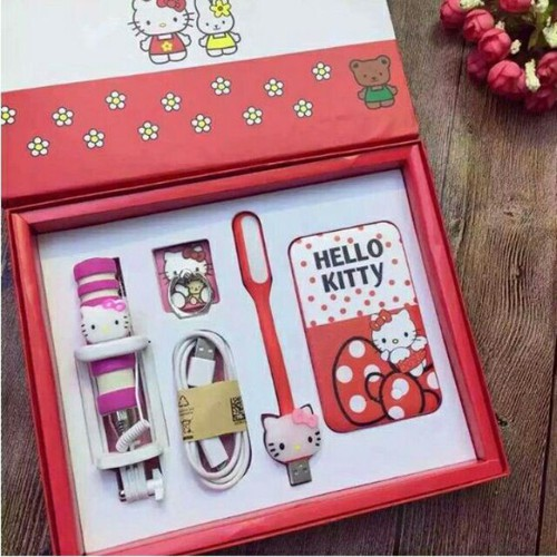 Bao rẻ set quà tặng sạc dự phòng gậy tự sướng đèn led siêu sáng và móc khóa hình mèo kitty gsm02 shop matnaxuong
