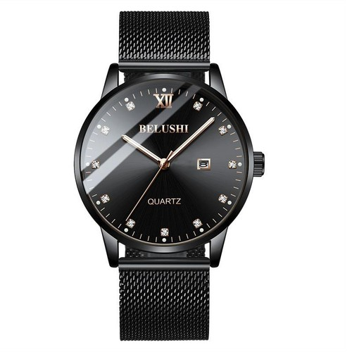 Đồng hồ nam belushi be545 dây titanium cao cấp - hiển thị lịch cao cấp