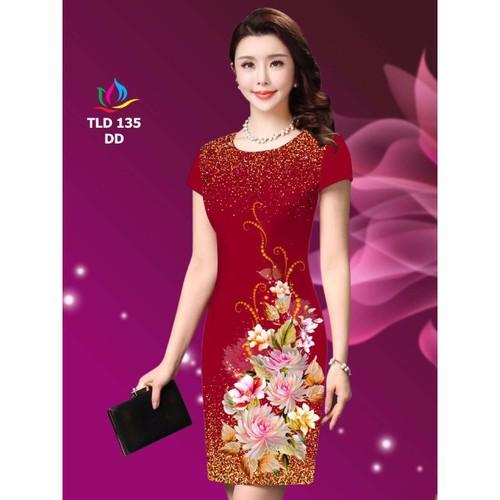 Đầm body in hoa 3d sang trọng da01