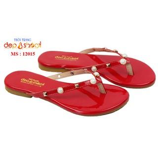 Dép nữ size lớn màu đỏ dép kẹp đính ngọc 41 42 43 DEP&SHOCK - 12015đỏ thumbnail