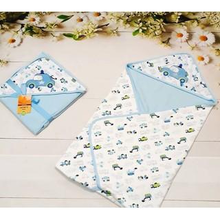 Khăn ủ, khăn choàng cotton 2 lớp có mũ cho bé