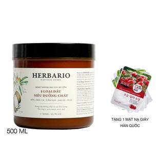 Kem ủ tóc Herbario - 5 Loại dầu siêu dưỡng chất 500ml - her-kemutangmatna thumbnail