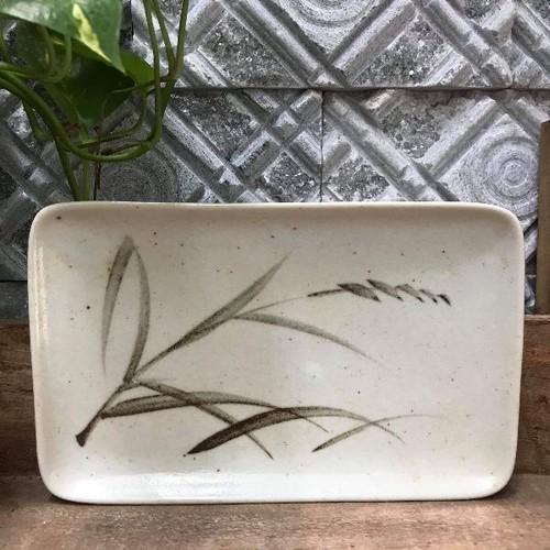 Dĩa gốm đĩa gốm chữ nhật màu xám nâu vẽ bông lúa mạch 22x13cm