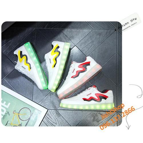 2 ls giày phát sáng đèn led 7 màu 11 chế độ họa tiết lượn sóng đỏ vàng