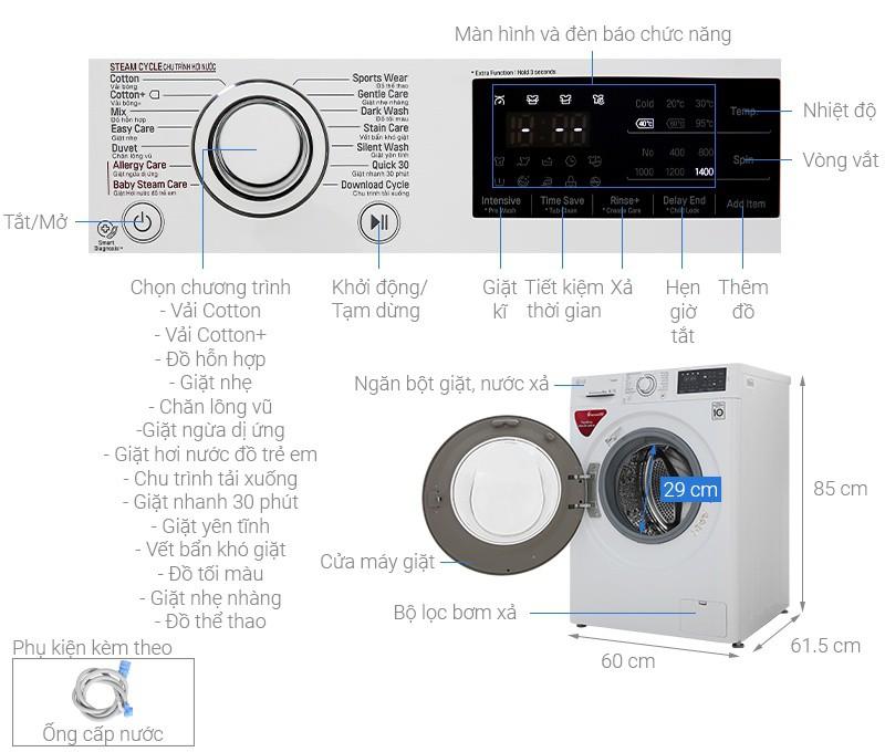 Thông số kỹ thuật Máy giặt LG Inverter 8 kg FC1408S5W