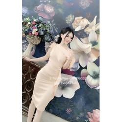 [SIÊU SALE] Đầm ômlệch vai lụa nhung  cực xinh 45-59kg thiết kế cao cấp eo xếp bèo