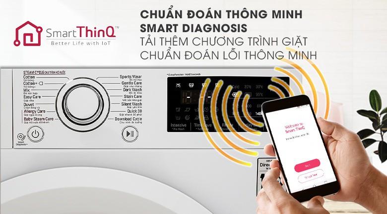 Chẩn đoán thông minh bằng điện thoại - Máy giặt LG Inverter 8 kg FC1408S5W