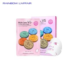[TẶNG SỮA RỬA MẶT 150ML] Mặt nạ chống lão hóa - ngừa mụn - săn chắc da Rainbow Laffair Multi-Care V5 Firming Vitamin Mask 10 miếng x 25ml