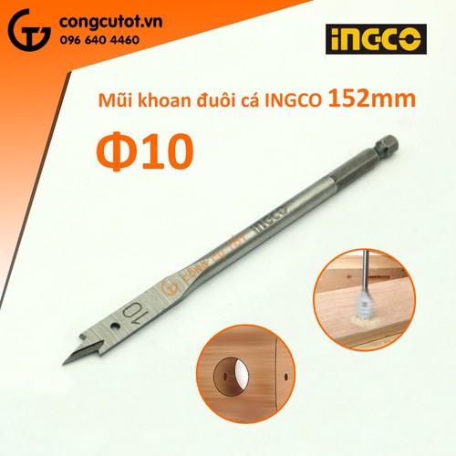 Mũi khoan khoét gỗ đuôi cá 10mm-ingco