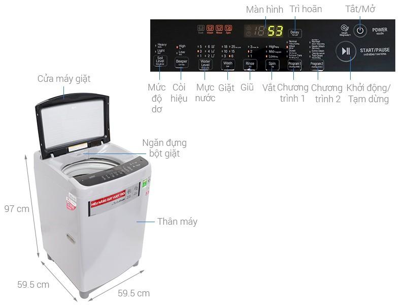 Thông số kỹ thuật Máy giặt LG Inverter 9.5 kg T2395VS2M