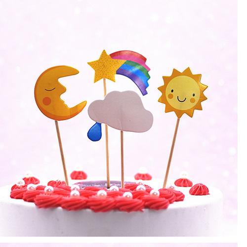Combo 10 túi 40 topper giấy mặt trời mặt trăng cao -13cm trang trí bánh kem, topper cake