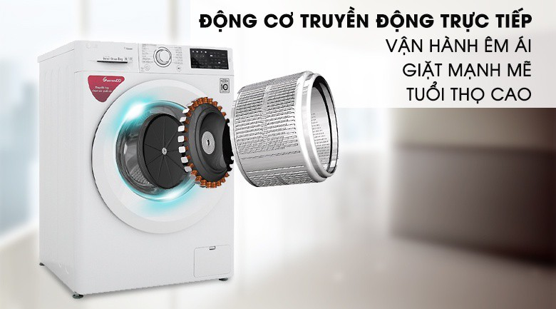 Động cơ truyền động trực tiếp - Máy giặt LG Inverter 8 kg FC1408S5W