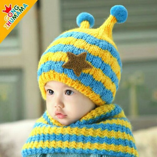 Mũ len kèm khăn con ốc sên cho bé