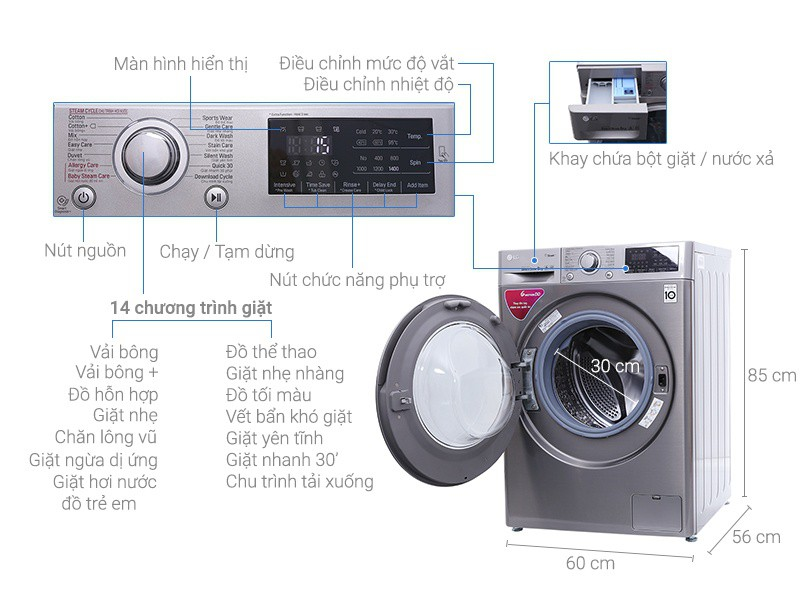 Thông số kỹ thuật Máy giặt LG Inverter 8 kg FC1408S3E
