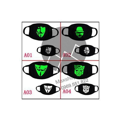 Có video hình thật khẩu trang dạ quang khẩu trang phát quang khẩu trang phát sáng mã sản phẩm eo4659