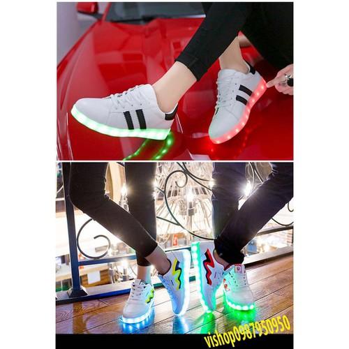 Giày 2 vạch thể thao phát sáng 7 màu phong cách hàn quốc video và ảnh thật bán rùi nghỉ shop thanh