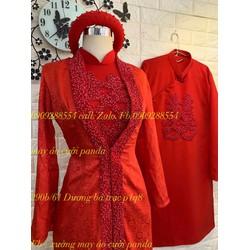 áo dài cưới cặp đò kết hạt co sẵn kèm áo khoác