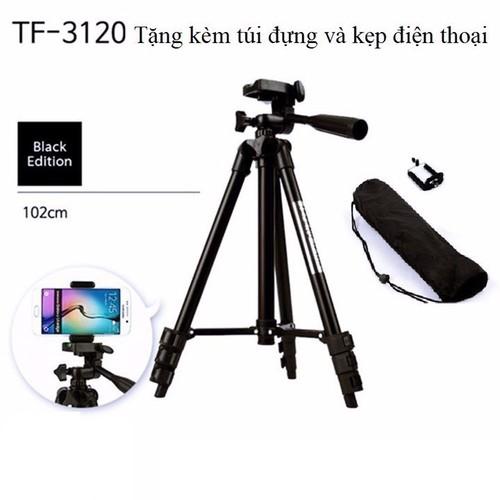 Chân máy ảnh kiêm bệ livestream tripod tf 3120 kèm 1 kẹp điện thoại model 2019