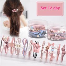 Set 12 dây thun cột tóc đơn giản phong cách Hàn Quốc PK26